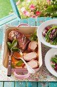 Pork fillet wrapped in ham