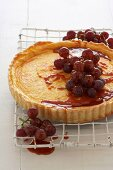 Goat's cheese tart with caramelised grapes