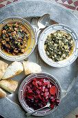 Chard salad, aubergine and salted lemon salad and sweet beetroot salad