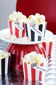 Popcorn in striped muffin cases