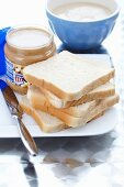 Slices of toast and peanut butter