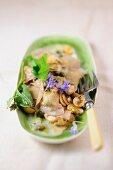 Herb ravioli with mushrooms