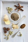 Cardamom pods, cinnamon sticks, ground cinnamon, aniseeds, ground ginger and star anise