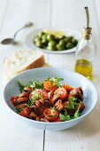 Octopus salad with cherry tomatoes