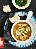 Zuppa perugina (soup with pancake rolls and a herb sauce)