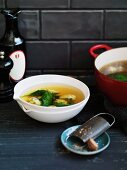 Brodo e gnocchi (chicken broth with baby spinach and spinach dumplings)