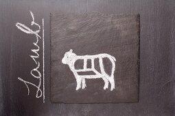 A sketch of a lamb on a chalkboard