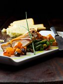 Smoked duck breast with vegetables