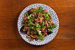 Warm mussel salad