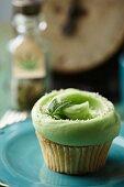 Marijuana Cupcake with a Marijuana Leaf Garnish