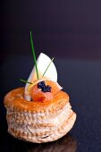 A vol au vent with egg, smoked salmon and caviar