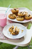 Chocolate chip cookies and a glass of strawberry milkshake