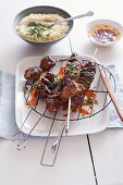 Grilled beef kebabs with coriander sauce