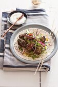 Grilled beef with curry and yogurt sauce