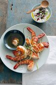 King prawns with a pomegranate and garlic sauce