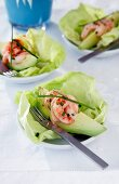 Prawns with avocado on a bed of lettuce