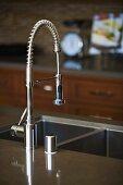 Modern chrome kitchen faucet