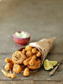 Fried mushrooms with a panko crust and wasabi mayonnaise