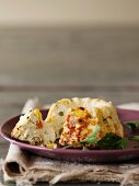 Ricotta cakes with sweetcorn, chillis and peper