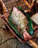 Steamed red snapper with miso vinaigrette