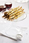 Pistachio baklava cigars with ginger and lemon grass syrup