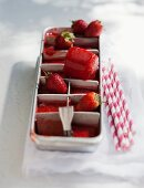 Ice cold strawberry cubes