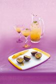 Passion fruit drinks and fresh passion fruit