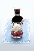 Coke float (vanilla ice cream with raspberries and cola)