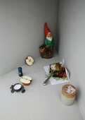 An image representing German cuisine, with pumpernickel bread and a garden gnome