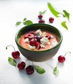 Gazpacho with cherries and feta cheese
