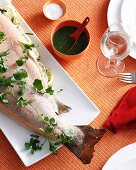 Plate of stuffed fish and herbs