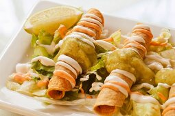 Fried Taquitos on Lettuce