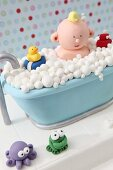 A bubble bath cake made with fondant icing