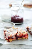 A blackberry and coconut slice