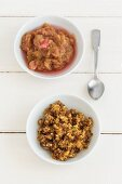 Blackbread fry-up with rhubarb compote (dessert from the 1950s)