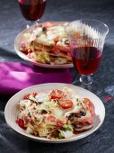 Vegetable lasagne topped with melted cheese