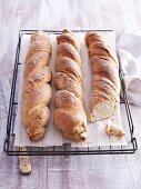 Three loaves of onion twist bread