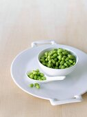 Bowl and Spoon on Edamame
