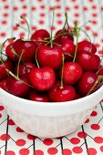 Bright Red Cherries with Stems in a White Bowl