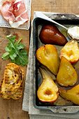 Caramelised pears with dry cured ham and grilled bread