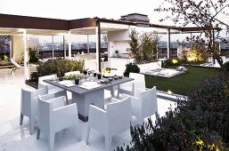 A large, partially covered roof terrace