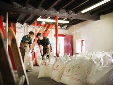 Workers with sacks of grain in brewery
