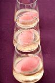 Strawberry sorbet in glasses of Prosecco