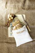 Home-made sourdough bread in a bread bag