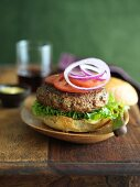 Burger with Lettuce, Onion and Tomato