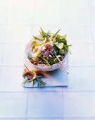 North shrimp salad with mange tout and chicory