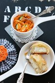 Moroccan carrot salad with sheep's cheese pockets