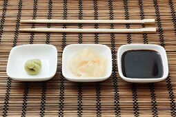 Wasabi, ginger and soy sauce