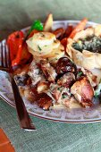 Guinea fowl pie, Spinach and feta tartlets, potatoes