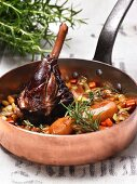 Braised lamb shanks with vegetables